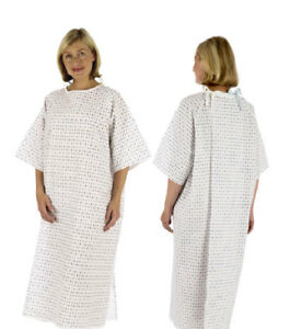 2 x Hospital Patient Gown Poly Cotton Washable Discrete