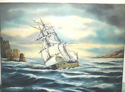 Öl auf Leinwand - Segelschiff - sign. Holzendorf
