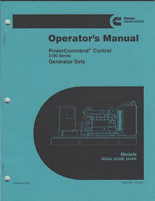 2003 CUMMINS  GENERATOR SET OPERATOR'S  MANUAL