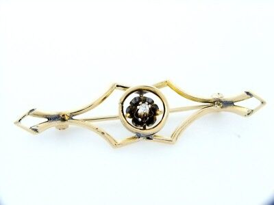 10K YELLOW GOLD DIAMOND VINTAGE FLOWER PIN BROOCH