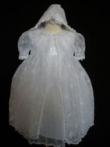 New-Baby-Girl-Toddler-3-pc-Christening-Baptism-Dress-Gown-size-6M-30-M-white