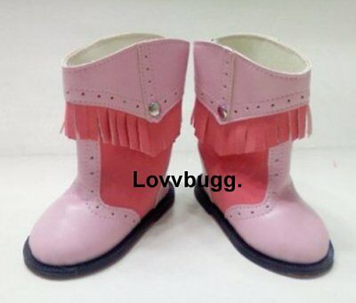 "Lovvbugg Pink Fringe 2-Tone Cowboy Boots for 18"" American Girl or Bitty Baby Doll Shoes"