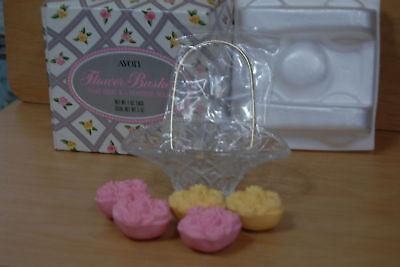 Avon Flower Basket Soap Dish & 5 Shabby Rose Soaps NIB