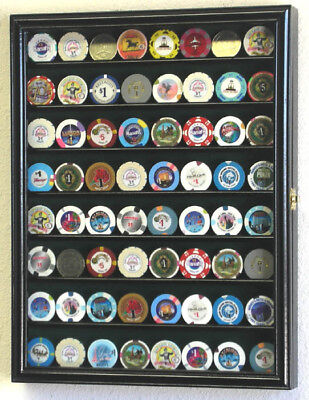 64 Casino Poker Chips Coin Cabinet Display ...