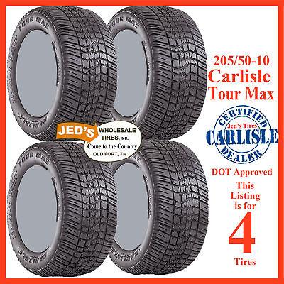 4) 205/50-10 Origional Equipment EZ-GO Culb Car Carlisle Tour Max Golf Cart Tire