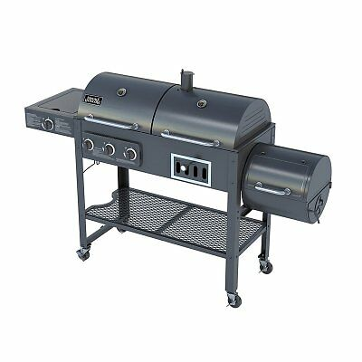 The Left Side Features A Three Burner Propane Gas Grill With Single