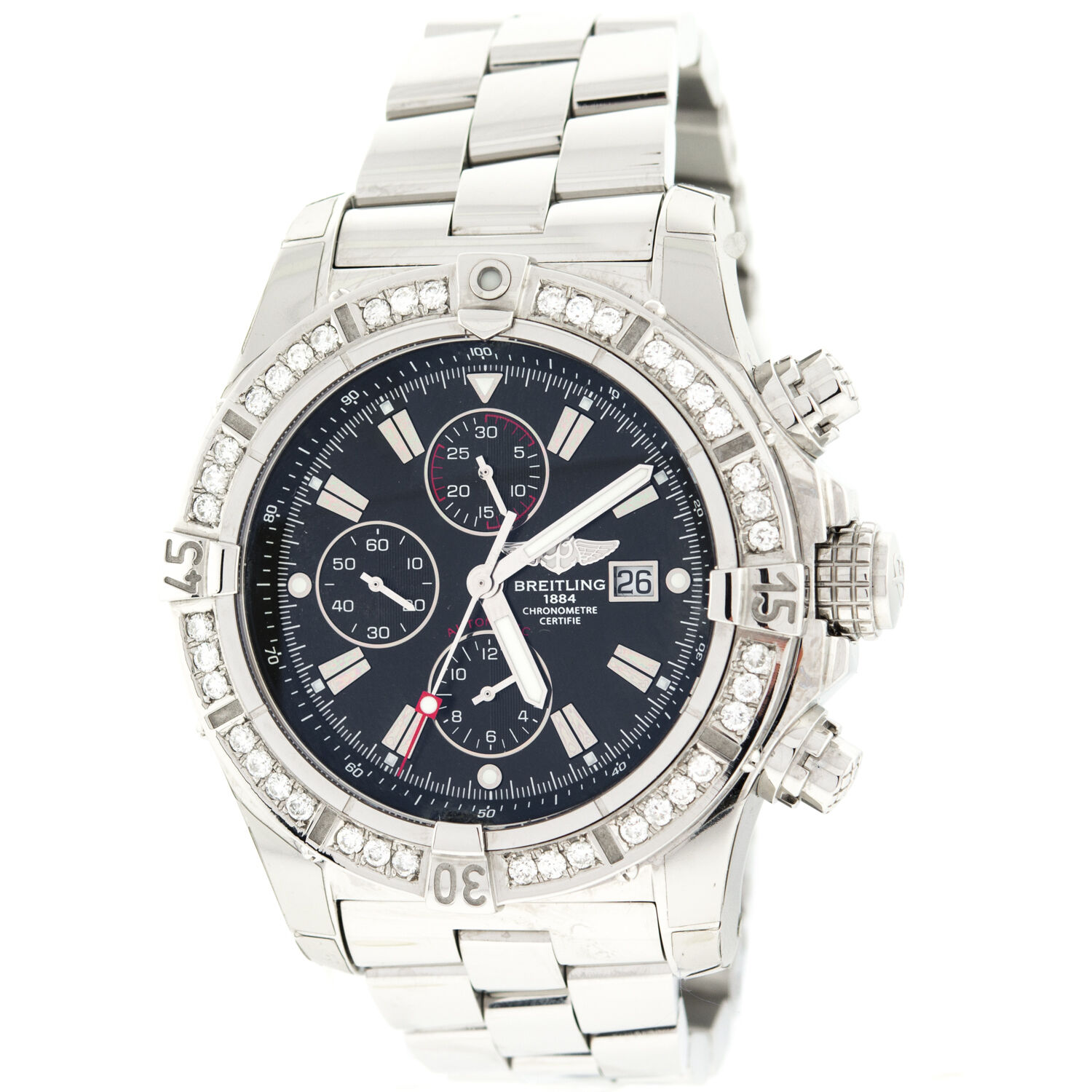 cbc4135ba20 Breitling Super Avenger Black Mother Of Pearl A13370 Diamond ...