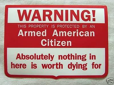 Warning Armed American Citizen Vinyl Window Decal Sticker-Gun Rifle NRA Pistol