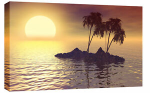 SUN-RISING-SUNSET-SEASCAPE-BOX-CANVAS-PICTURE-34-x20-L