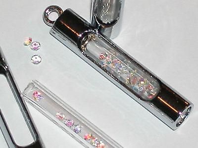 1 Fillable Glass Pendant Tube Necklace Locket Oil Bottle Vial Charm