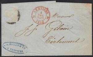 FRANCE-1856-VERVIERS-TO-TIRLEMONT-FOLDED-STAMPLESS-LTR