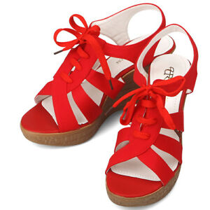 Open-Toe-Platform-Wedge-Lace-Womens-Heels-Red
