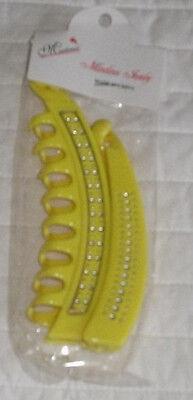 Set Of 2 Lemon Yellow Banana Hair Clip Rhinestones