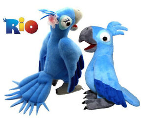 RARE-RIO-The-Movie-Character-Plush-Soft-Toy-Blu-and-Jewel-Parrot-Animal-2pcs