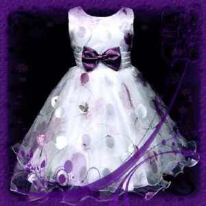 Purple chiffon christmas celebration girls party dresses size age 3 4