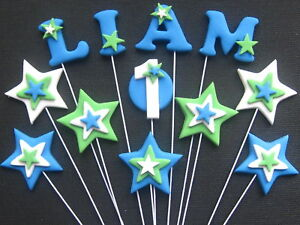 12 Edible Number Star Name WIRE BIRTHDAY CAKE TOPPERS