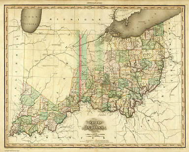 OHIO 1819 OH MAP UNION MUSKINGUM KNOX NOBLE COUNTY huge