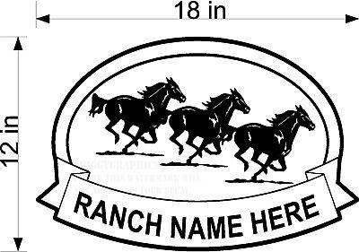 Custom Vinyl Decal Ranch Name 3 Horse Graphic