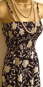 MONSOON MAXI DRESS BLACK/CREAM FLORAL PRINT size 8-20