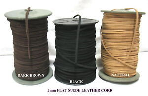 5metres FLAT SUEDE LEATHER CORD 3mm  (Various Colours)