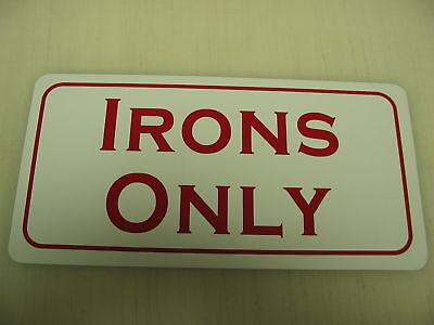 Vintage IRONS ONLY Metal Sign Golf Driving Range Ball