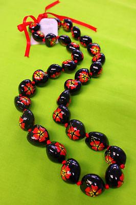 NEW Hawaii Wedding / Graduation Kukui Nut Lei Necklace ~ BLACK & RED HIBISCUS
