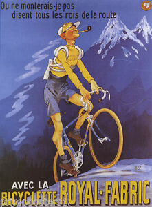 BICYCLE-MOUNTAIN-BIKE-CYCLES-FRENCH-ALPS-ROYAL-FABRIC-SPORT-VINTAGE-POSTER-REPRO