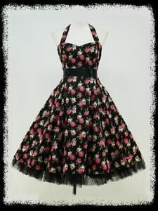 BLACK-FLORAL-50s-PINUP-ROCKABILLY-SWING-VTG-PROM-DRESS