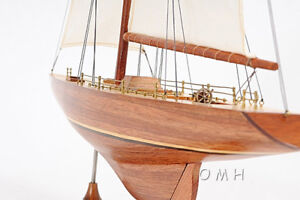 Columbia-Yacht-Model-Americas-Cup-Wood-Sailboat-24-Built-1958-12-Meter-Boat
