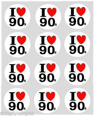 12 I LOVE 90s Cupcake Decoration Edible Cake Toppers Pre Cut 40mm