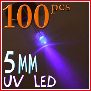100 x 5mm Bright UV / Purple 5000 mcd LED Bulb Light