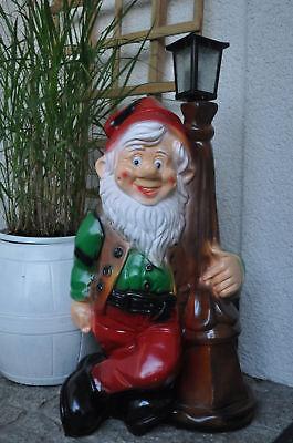 Gartenzwerg XXL 85 cm groß mit Laterne, LAMPE, Gartenfigur UNIKAT!