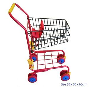 RED METAL SHOPPING SUPERMARKET TROLLEY CART kitchen pretend role play kids toy