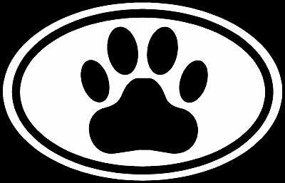 Paw White Oval Sticker Dog Puppy Euro Car Window Decal