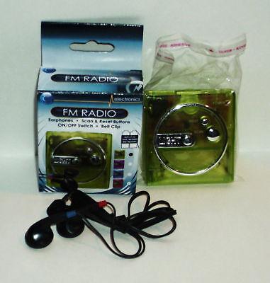 Electronics Battery Fm Radio Earphone Beltclip Green