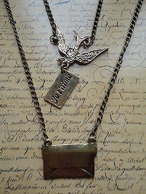 Vintage Bronze Swallow Bird Envelope Paris Necklace