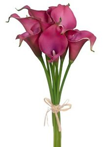 WEDDING BOUQUET POSY QUALITY REAL TOUCH LATEX CALLA LILY FLOWERS PINK ARTIFICIAL