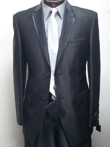 MENS SHINY SLIM FIT BLACK DRESS SUIT SIZE 48L NEW SUIT