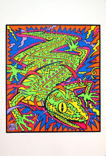 Frank Kozik Electric Lizard 1991 Original Silkscreen Print Signed