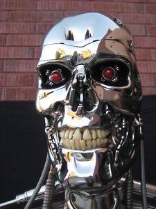 T 800 Terminator SIDESHOW ORIGINAL CHROME T-800 TERMINATOR 2 ENDOSKELETON LIFE-SIZE ...