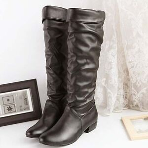 Women New fashion grace devise PU Leather Flat Knee High Boots  Wb008