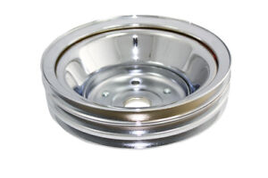 SB-Chevy-Chrome-3-Groove-Belt-Long-Water-Pump-Crank-Pulley-350-1969-84-V-8