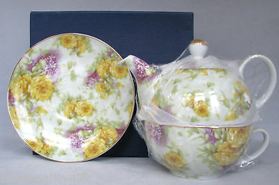 Yellow+purple Flowers Sorelle Handmade Porcelain Tea For One+saucer+box