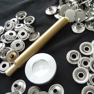 50 Ring-Feder Druckknöpfe Knöpfe 15 mm. Edelstahl inkl. Handschlageisen A90