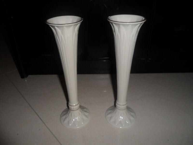 "2 Vintage Lenox China Rosebud Vases 9"" w 24K Gold"