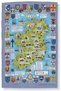The Map of Ireland/Linen/Tea/Towel/Kitchen/Accessories/Cloth/Irish/Ireland/New