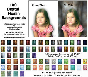 100 Digital Backdrops Photo Backgrounds Muslin Studio Volume 1