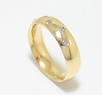 Polished Natural Diamond Accent Wedding Band Ring Real 14k Yellow Gold