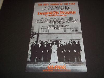 1977 DONKEYS' YEARS GLOBE THEATER POSTER ANNA MASSEY PAUL EDDINGTON - P 193
