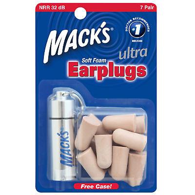 Mack's Safesound Ultra Soft Foam Earplugs Snoring Noise Free Case Ear Muff 927
